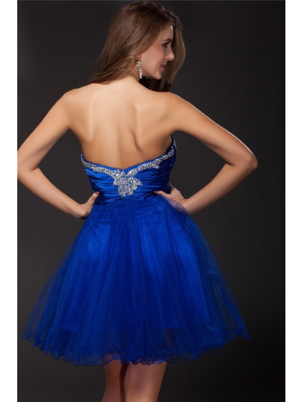 A-Line/Princess Strapless Beading Sleeveless Short Net Elastic Woven Satin Cocktail Dresses