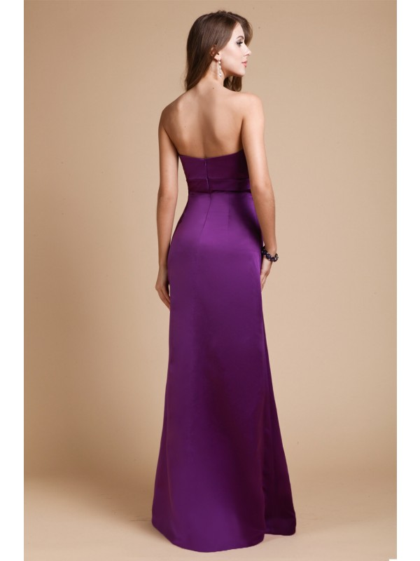 Sheath/Column Sweetheart Sleeveless Long Bowknot Elastic Woven Satin Bridesmaid Dresses
