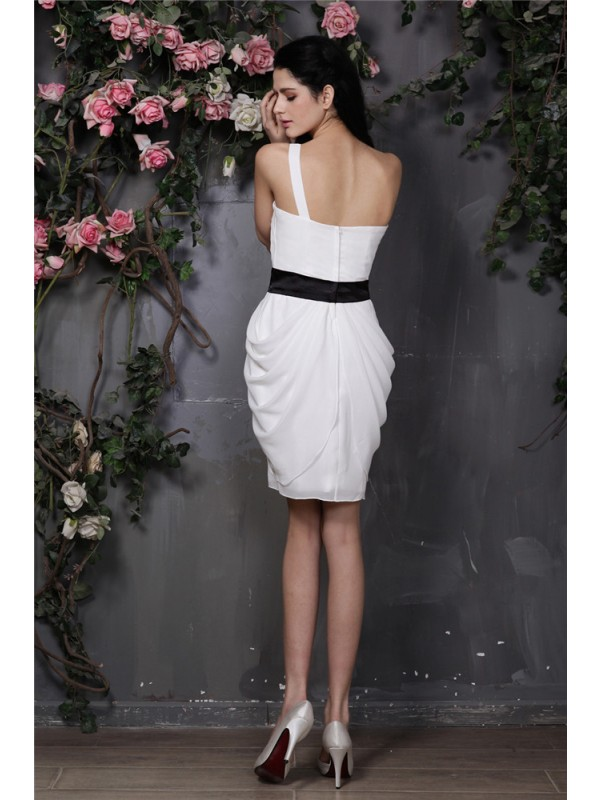 Sheath/Column One-Shoulder Sleeveless Pleats Short/Mini Chiffon Dresses