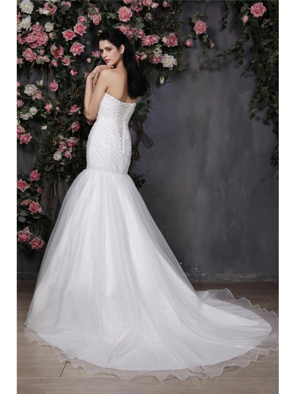 Trumpet/Mermaid Sweetheart Sleeveless Beading Pleats Ruffles Long Organza Wedding Dresses