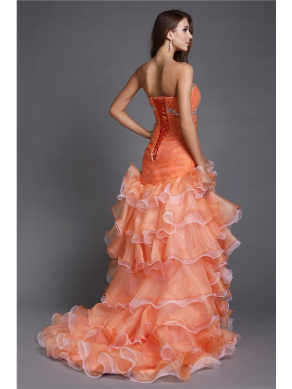 Ball Gown Strapless Beading Sleeveless High Low Organza Cocktail Dresses