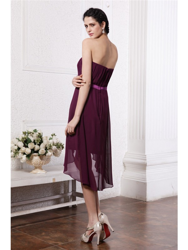 Sheath/Column Strapless Sleeveless Sash Pleats High Low Chiffon Cocktail Dresses