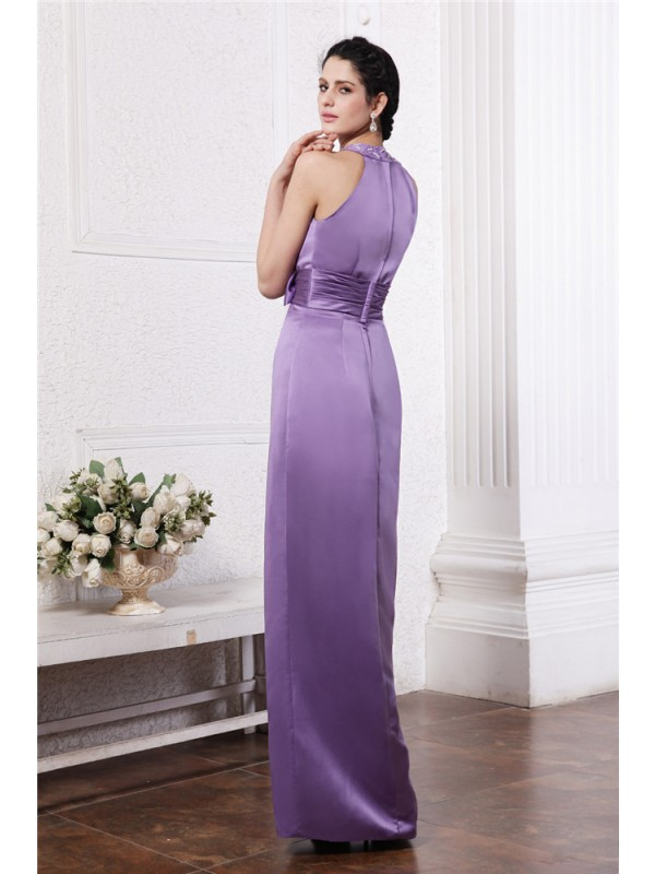 Sheath/Column Scoop Sleeveless Beading Bowknot Long Elastic Woven Satin Bridesmaid Dresses