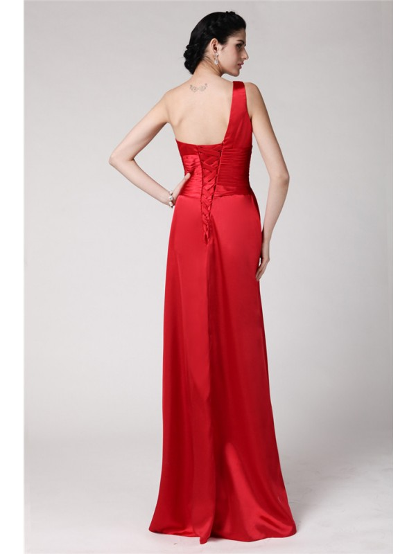 Sheath/Column One-Shoulder Sleeveless Pleats Hand-Made Flower Long Elastic Woven Satin Bridesmaid Dresses
