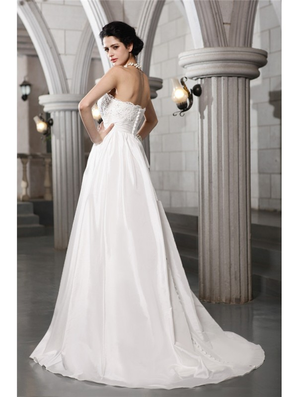 A-Line/Princess Strapless Sleeveless Beading Applique Long Taffeta Wedding Dresses