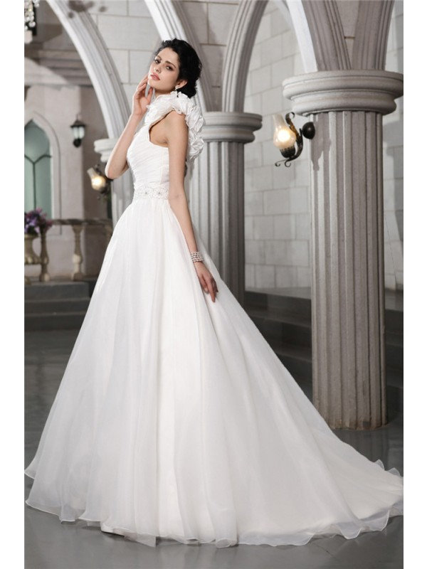 A-Line/Princess One-Shoulder Sleeveless Beading Long Organza Wedding Dresses
