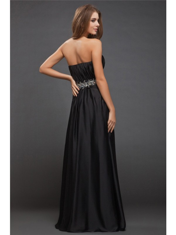Sheath/Column Sweetheart Sleeveless Beading Long Charmeuse Bridesmaid Dresses