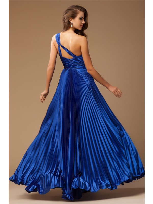Sheath/Column One-Shoulder Sleeveless Long Beading Elastic Woven Satin Dresses