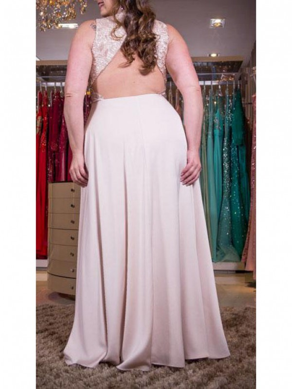 A-Line V-neck Sleeveless Applique Floor-Length Elastic Woven Satin Plus Size Dresses