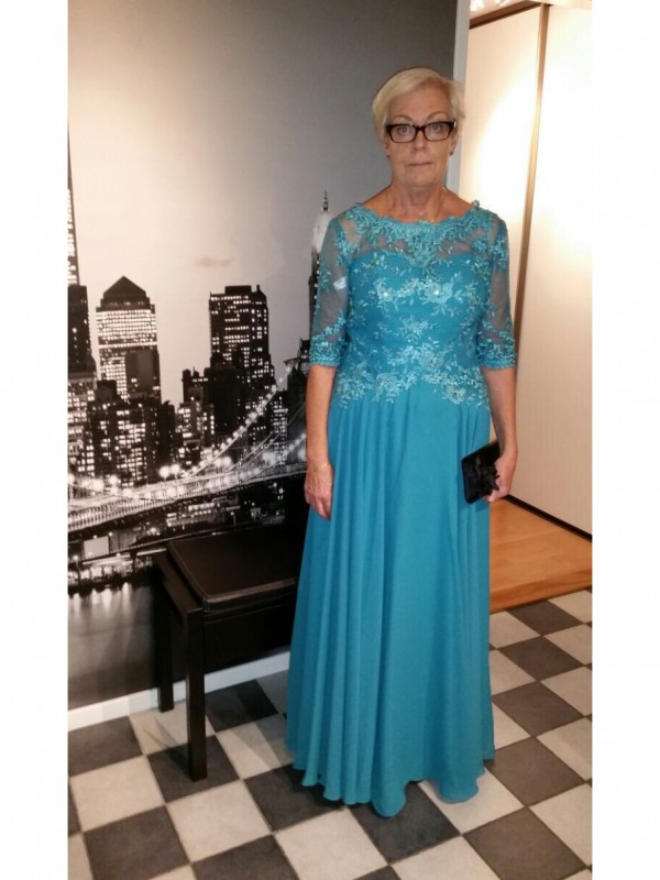 A-Line Sheer Neck 1/2 Sleeves Applique Floor-Length Chiffon Mother Of The Bride Dresses