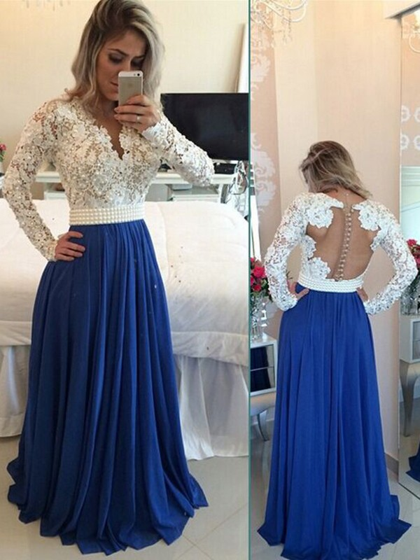A-Line Princess V-neck Long Sleeves Chiffon Floor-Length Pearl Dresses ... dbaf9221e846