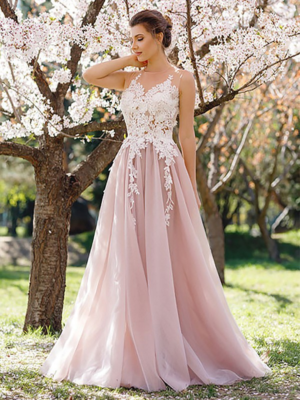A-Line Jewel Sleeveless Floor-Length Applique Tulle Dresses