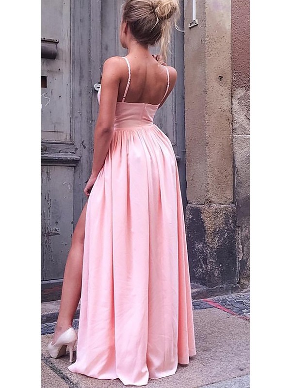 A-Line Sleeveless Straps Floor-Length Ruched Silk like Satin Dresses