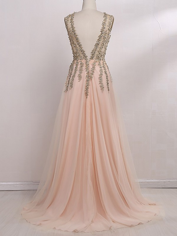 A-Line V-Neck Sleeveless Sweep/Brush Train Beading Tulle Dresses