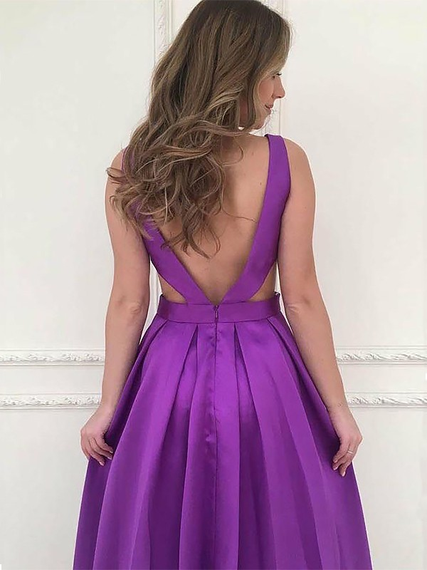A-Line V-neck Sleeveless Sweep/Brush Train Ruffles Satin Dresses