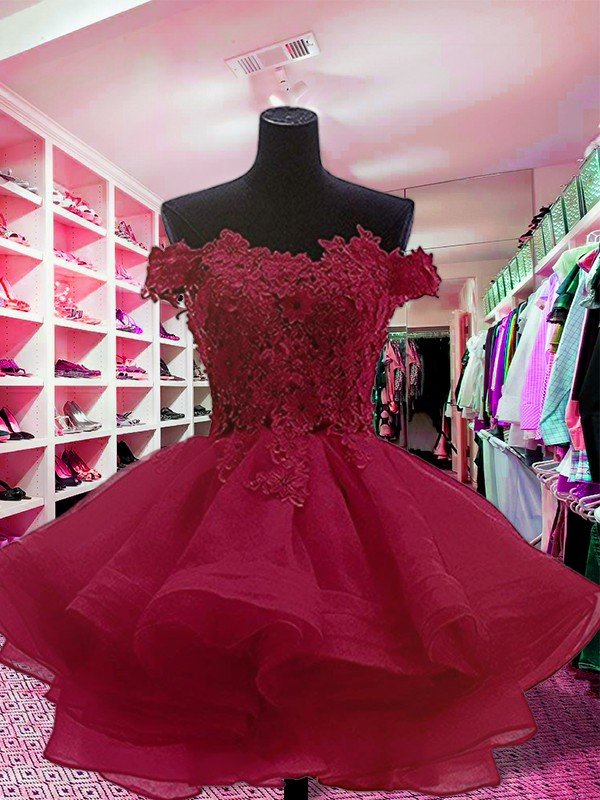 Ball Gown Short/Mini Sleeveless Organza Off-the-Shoulder Applique Dresses