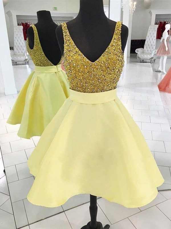 A-Line/Princess Short/Mini Sleeveless Satin V-neck Beading Dresses
