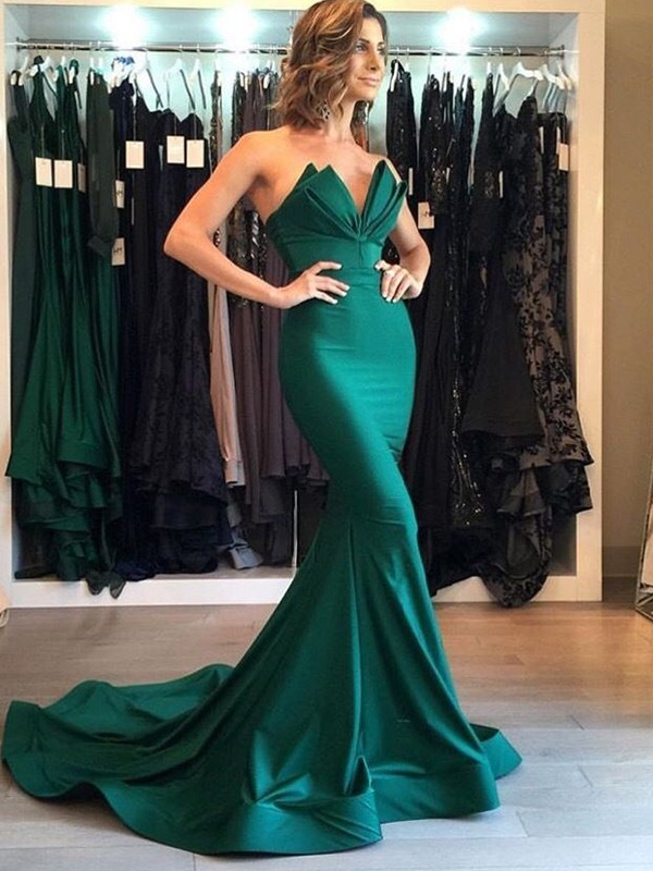 Mermaid Sleeveless V-neck Court Train Satin Dresses