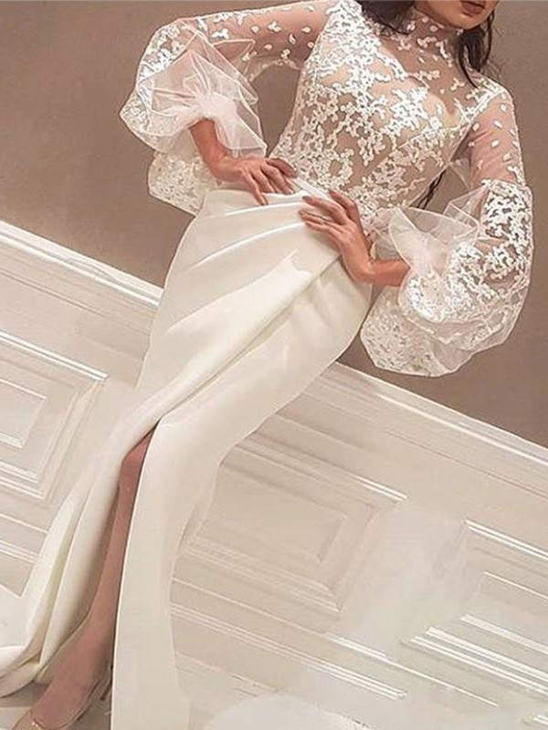 Mermaid Long Sleeves High Neck Sweep/Brush Train Lace Satin Dresses