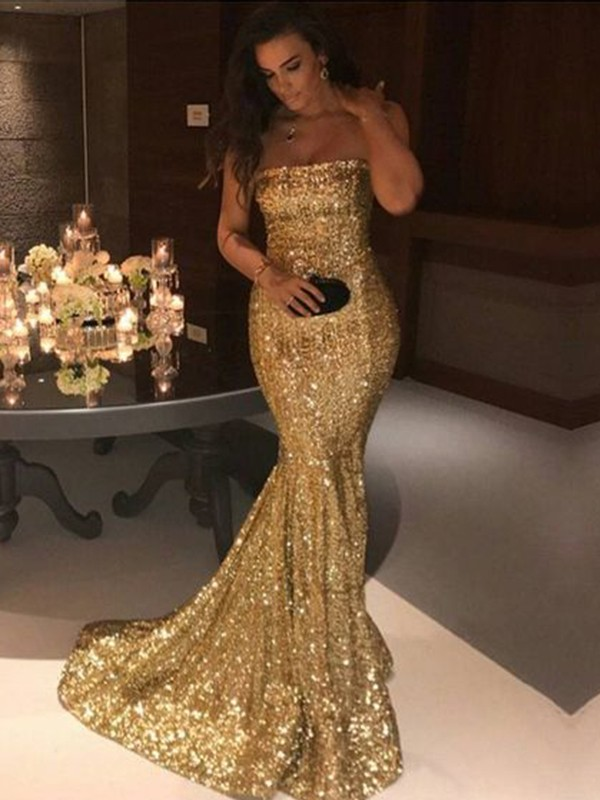 Mermaid Sleeveless Strapless Sweep/Brush Train Sequins Dresses