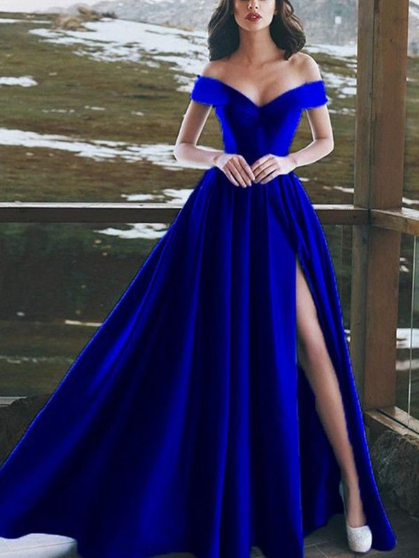 A-Line Sleeveless Off-the-Shoulder Floor-Length Ruffles Satin Dresses