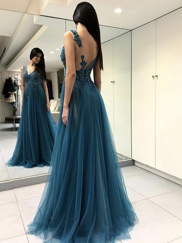 A-Line Sleeveless V-neck Floor-Length Applique Tulle Dresses