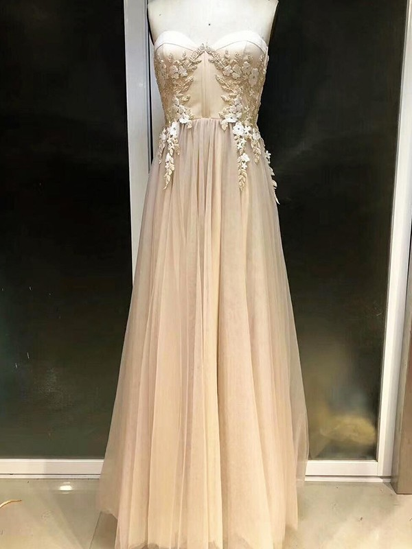 Empire Sleeveless Sweetheart Floor-Length Applique Tulle Dresses