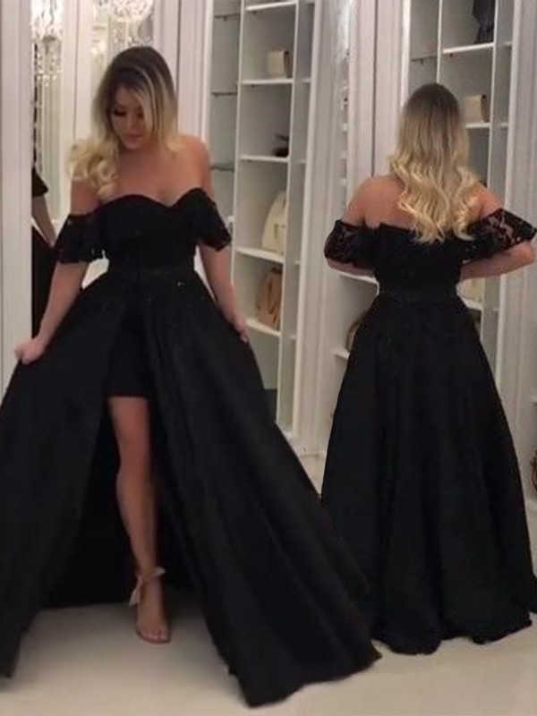 Ball Gown Sleeveless Off-the-Shoulder Sweep/Brush Train Lace Satin Dresses