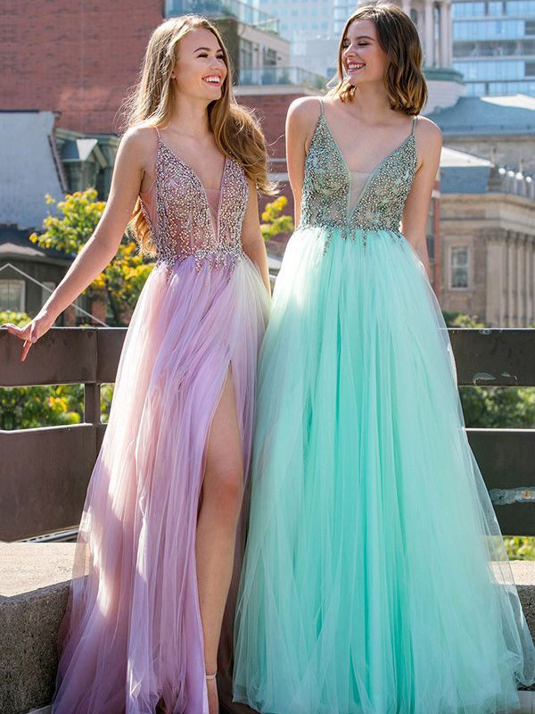 A-Line Sleeveless V-neck Floor-Length Beading Tulle Dresses