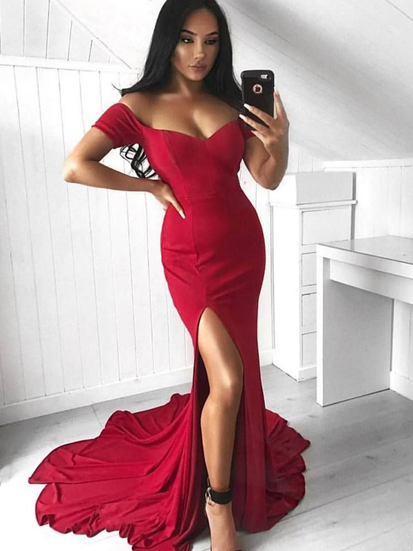 Mermaid Sleeveless Off-the-Shoulder Court Train Ruffles Elastic Woven Satin Dresses