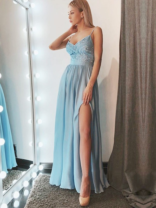 A-Line Sleeveless Spaghetti Straps Floor-Length Lace Chiffon Dresses