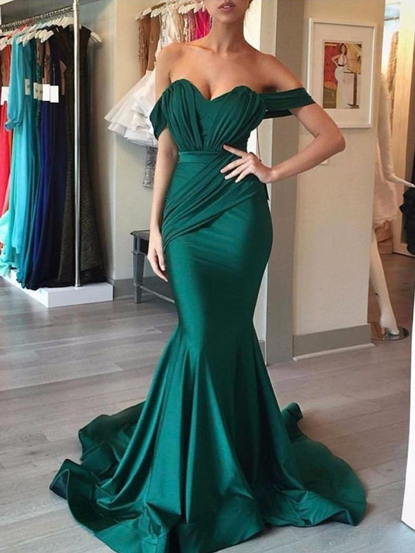 Mermaid Sleeveless Off-the-Shoulder Sweep/Brush Train Ruffles Satin Dresses