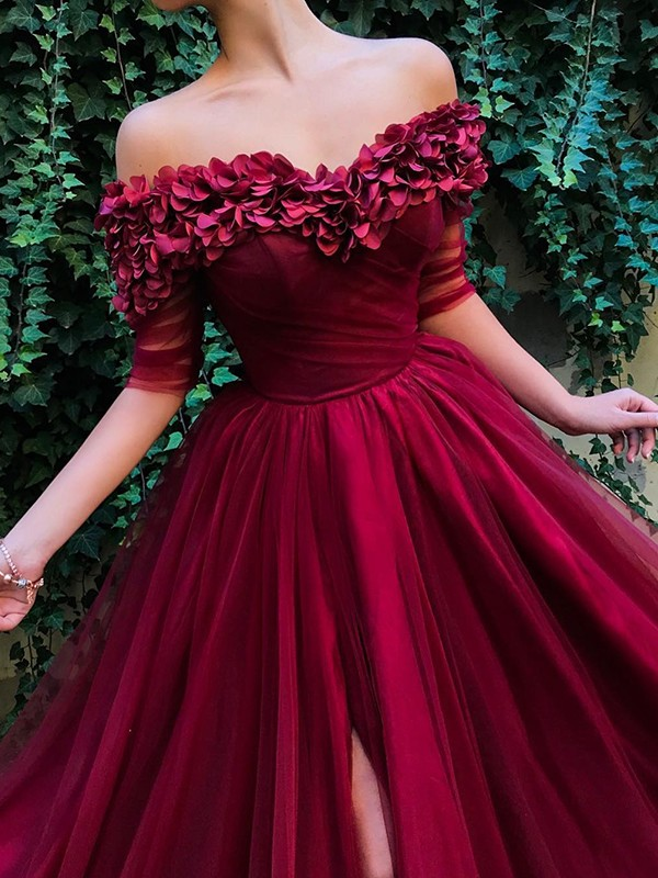 A-Line 1/2 Sleeves Off-the-Shoulder Sweep/Brush Train Ruffles Tulle Dresses