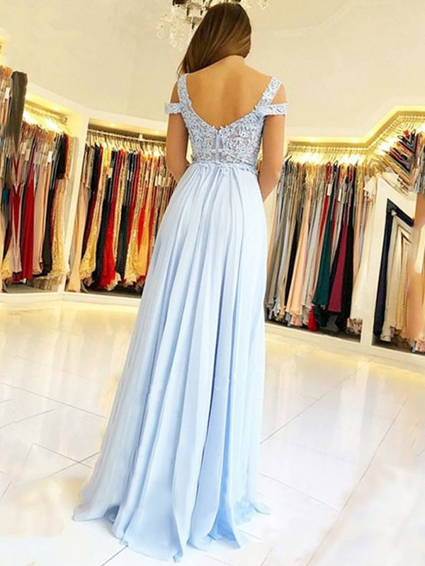 A-Line Sleeveless Off-the-Shoulder Floor-Length Applique Chiffon Dresses