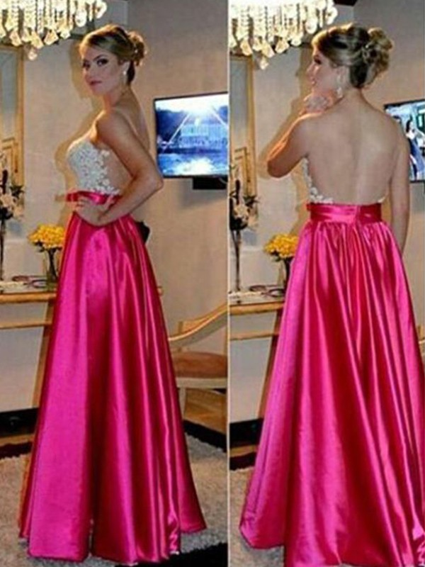 A-Line Sleeveless Sweetheart Floor-Length Applique Satin Dresses