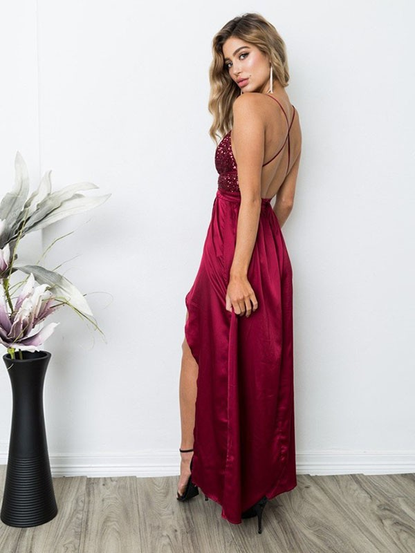 A-Line Sleeveless Straps Floor-Length Sequin Silk Like Satin Dresses