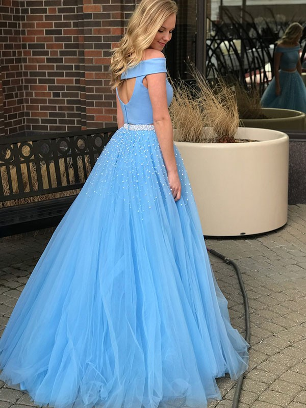 A-Line Sleeveless Off-the-Shoulder Sweep/Brush Train Beading Tulle Two Piece Dresses