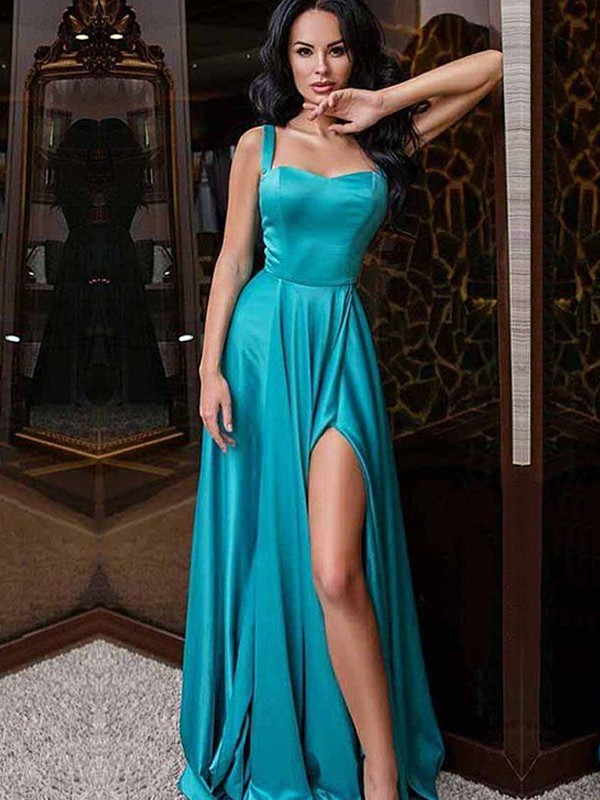 A-Line/Princess Satin Straps Ruffles Sleeveless Sweep/Brush Train Dresses