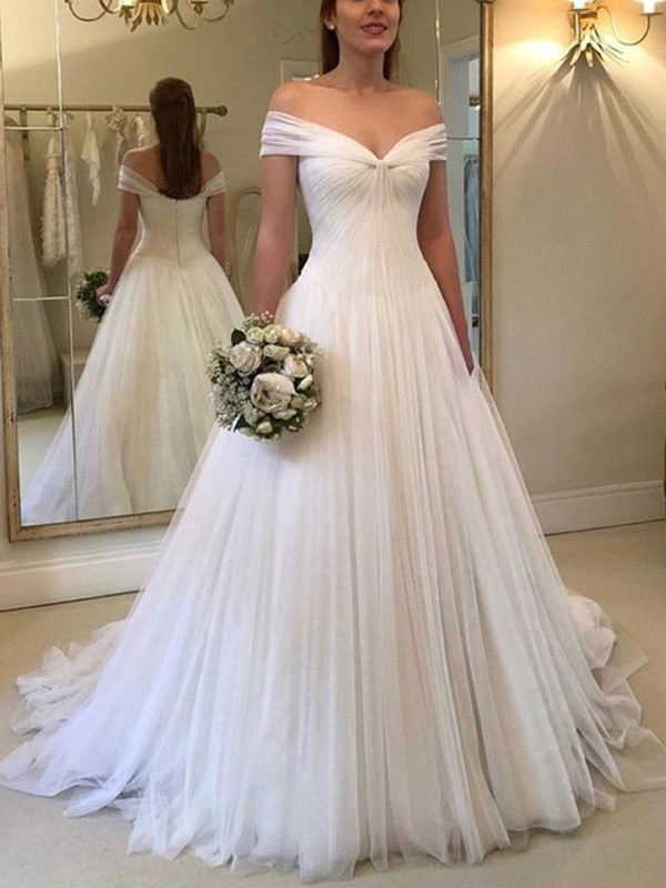 A-Line/Princess Tulle Off-the-Shoulder Ruched Sleeveless Sweep/Brush Train Wedding Dresses
