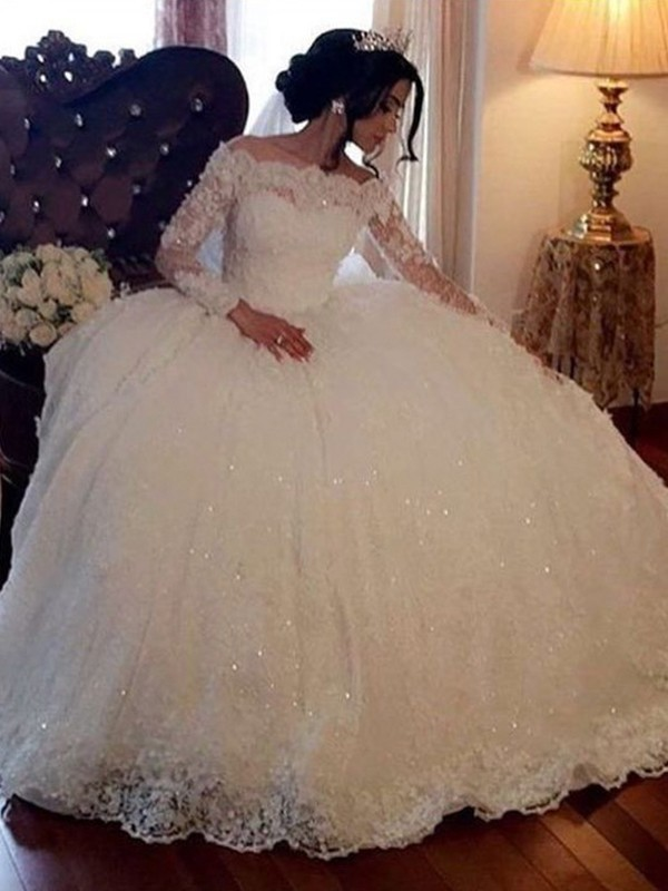 Ball Gown Tulle Bateau Lace Long Sleeves Floor-Length Wedding Dresses