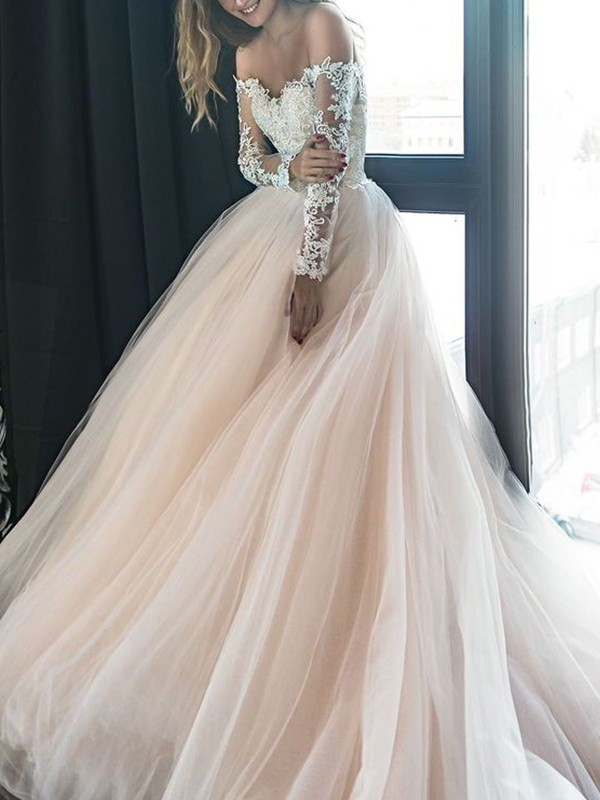 A-Line/Princess Tulle Off-the-Shoulder Applique Long Sleeves Court Train Wedding Dresses
