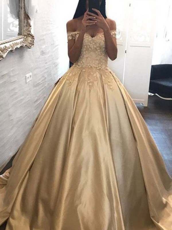 Ball Gown Satin Off-the-Shoulder Applique Sleeveless Sweep/Brush Train Dresses