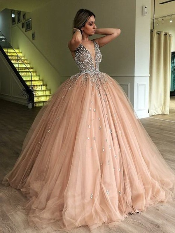 Ball Gown Tulle V-neck Beading Sleeveless Floor-Length Dresses