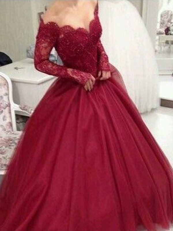 Ball Gown Tulle V-neck Lace Long Sleeves Floor-Length Dresses