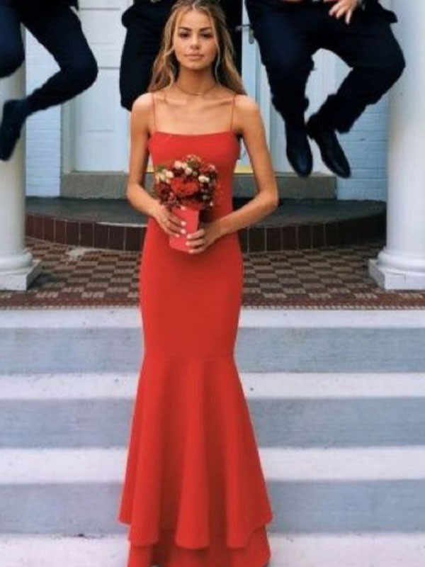 Sheath/Column Satin Spaghetti Straps Layers Sleeveless Floor-Length Dresses