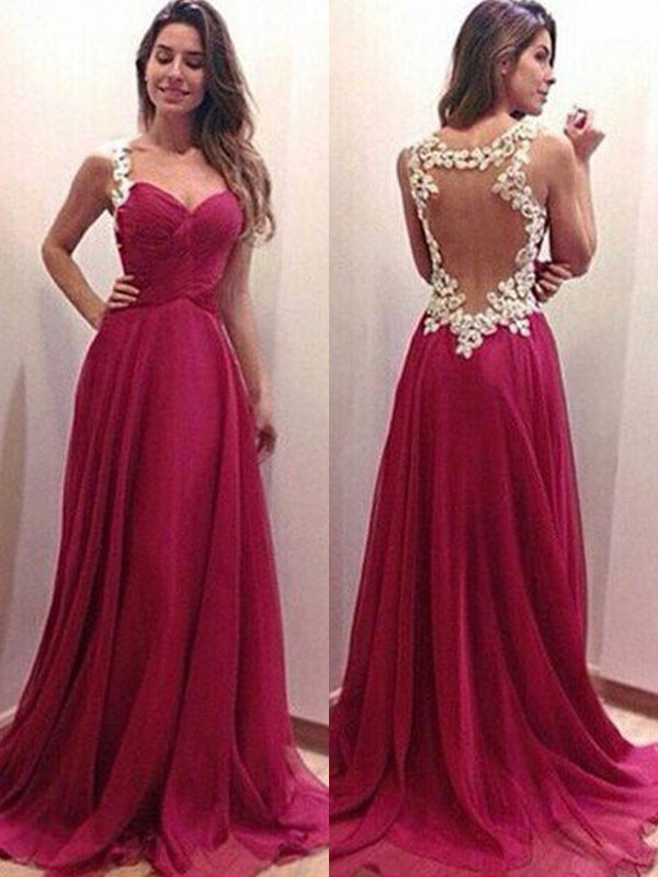 A-Line/Princess Chiffon Sweetheart Applique Sleeveless Sweep/Brush Train Dresses