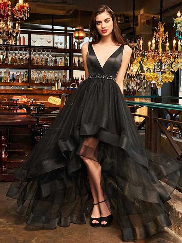 A-Line/Princess Organza V-neck Ruffles Sleeveless Asymmetrical Dresses