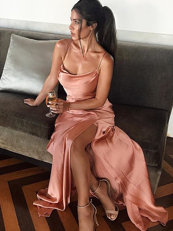 Sheath/Column Sleeveless Silk like Satin Spaghetti Straps Floor-Length Dresses