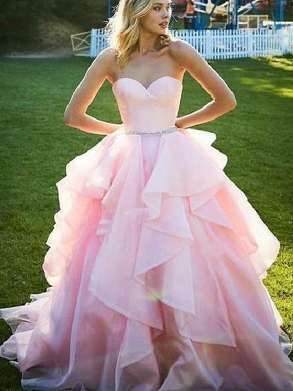 Ball Gown Sleeveless Beading Organza Sweetheart Floor-Length Dresses