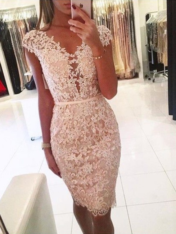 Sheath/Column Knee-Length V-neck Sleeveless Lace  Dresses